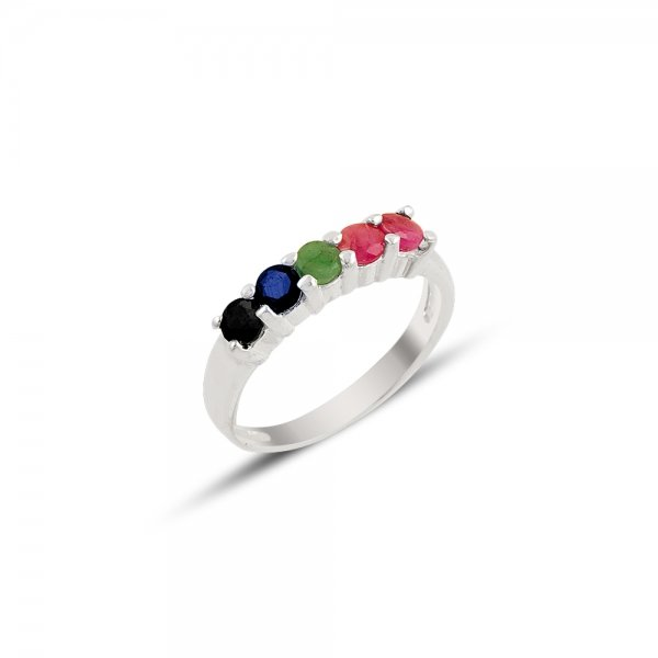 Natural Ruby & Emerald & Sapphire Five Stone Ring - R81887