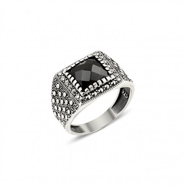 Marcasite & Onyx Ring - R14435