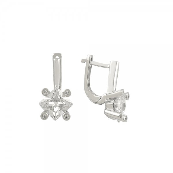 CZ J Shaped Earrings - E81880