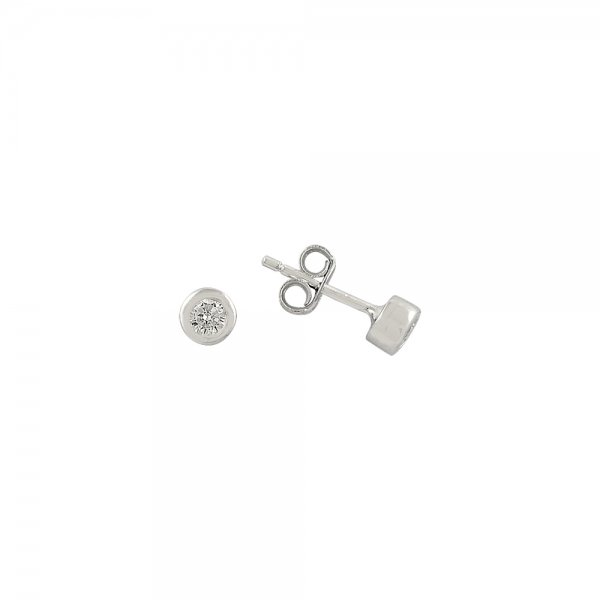3mm CZ Rhodium Plated Solitaire Earrings - E81849
