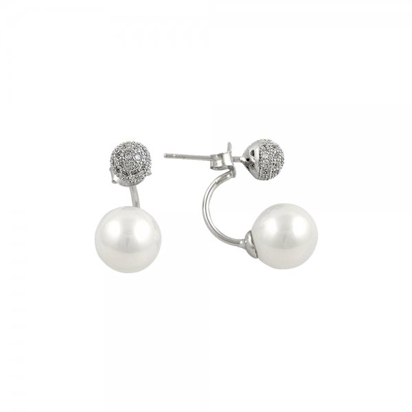 Pearl & CZ Double Earrings - E14598