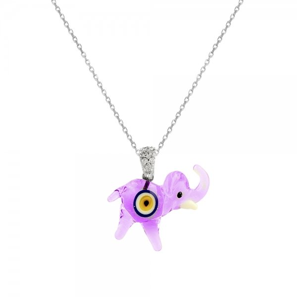 Handcrafted Glass Elephant Necklace - N82036