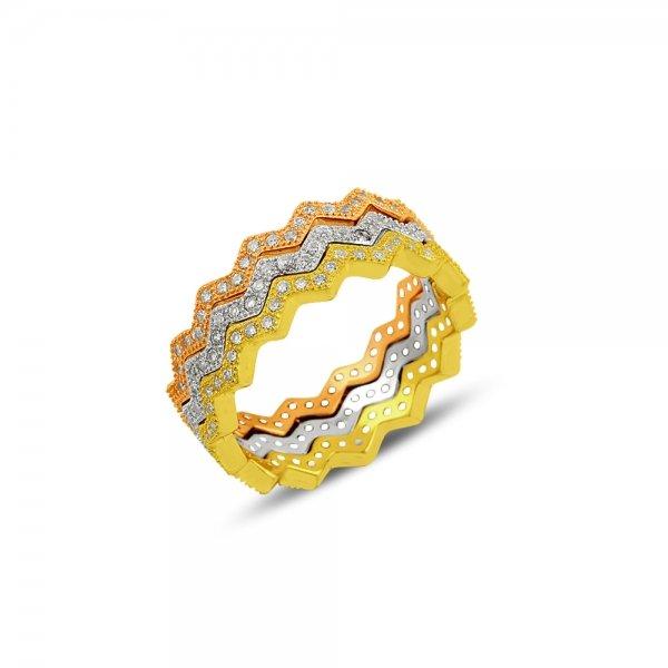 CZ Tria Zig Zag Eternity Ring - R81948