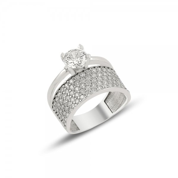 CZ Five Lines Half Eternity & Solitaire Ring - R81906