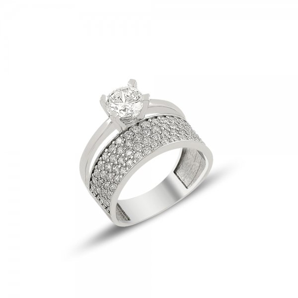 CZ Four Lines Half Eternity & Solitaire Ring - R81905