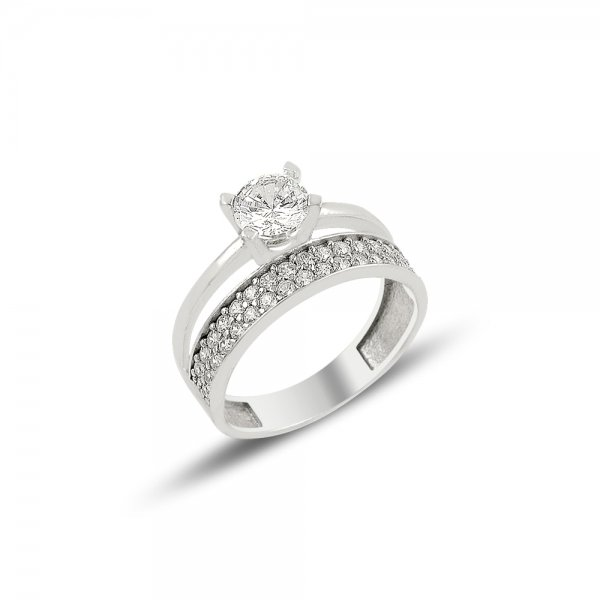 CZ Two Lines Half Eternity & Solitaire Ring - R81903