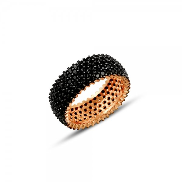 Rose Gold Plated Black CZ 5 Line Eternity Ring With Black - R81811