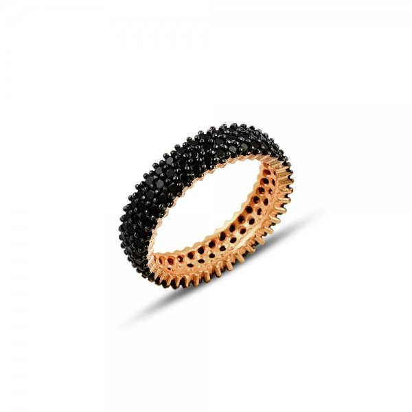 Rose Gold Plated Black CZ 3 Lines Eternity Ring With Black - R81810