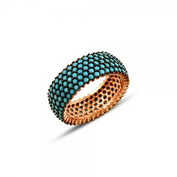 Rose Gold Plated Turquoise CZ 5 Line Eternity Ring With Black - R81803