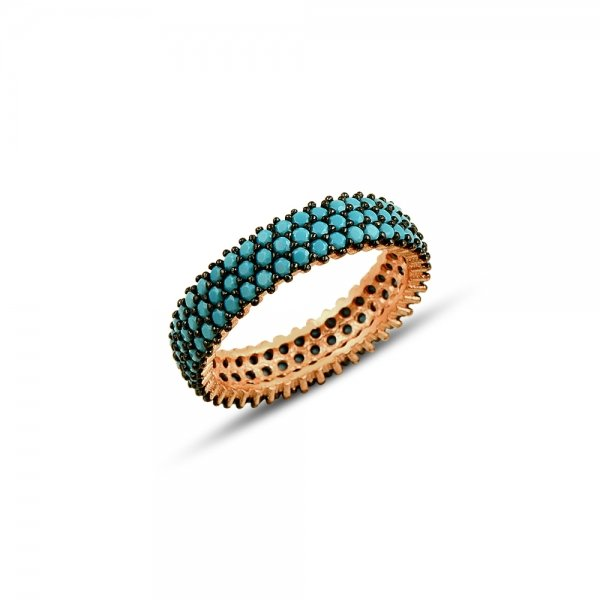 Rose Gold Plated Turquoise CZ 3 Lines Eternity Ring With Black - R81802
