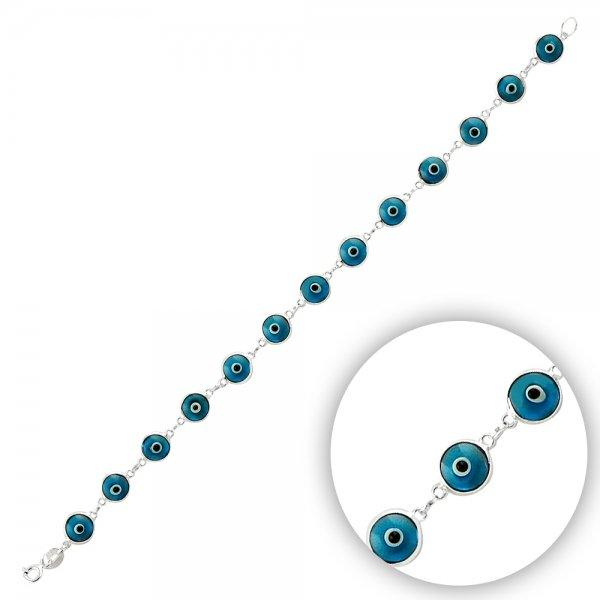 7.5mm Blue Evil Eye Bracelet - B14362
