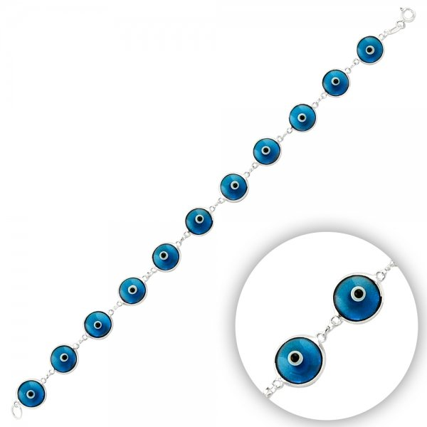 9.5mm Blue Evil Eye Bracelet - B14353