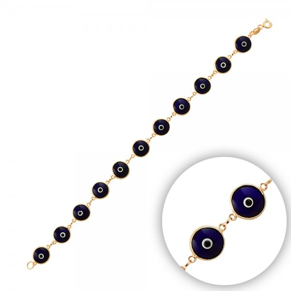 9.5mm Navy Blue Evil Eye Rose Plated Bracelet - B14352