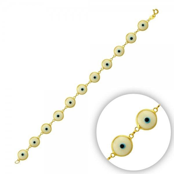 9.5mm White Evil Eye Gold Plated Bracelet - B14357