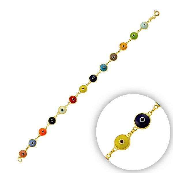 7.5mm Pastel Mix Evil Eye Gold Plated Bracelet - B14366