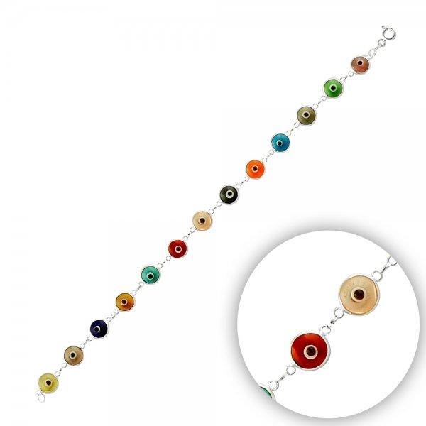 7.5mm Transparent Mix Evil Eye Bracelet - B14368