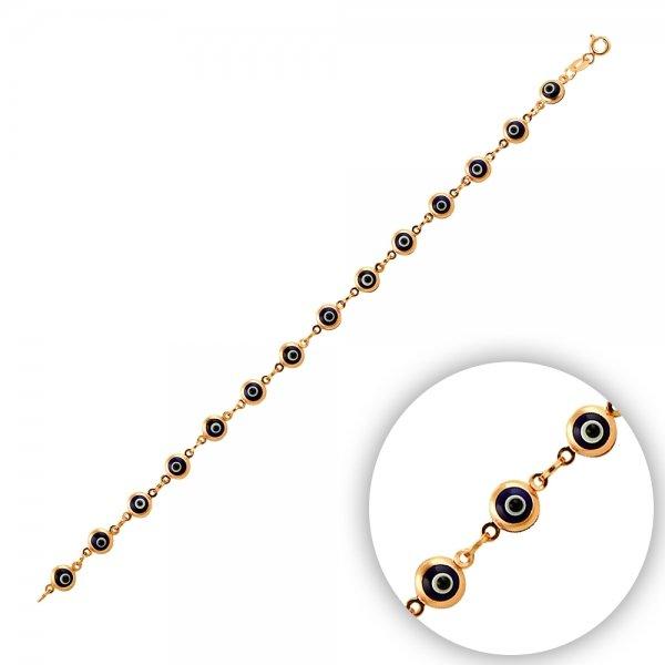 5mm Navy Blue Evil Eye Rose Plated Bracelet - B14373