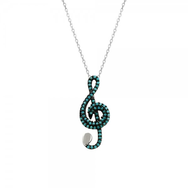 Turquoise Treble Clef Necklace - N14610