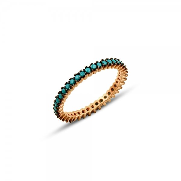 Rose Gold Plated Turquoise CZ Single Line Eternity Ring With Black - R81801