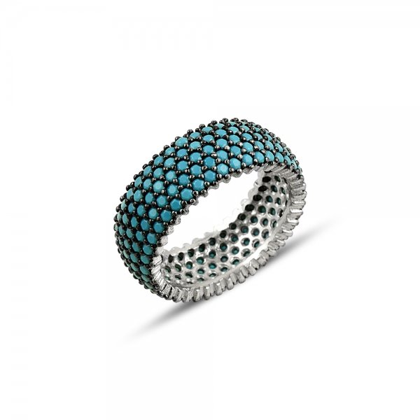 Rhodium Plated Turquoise CZ 5 Line Eternity Ring With Black - R81800