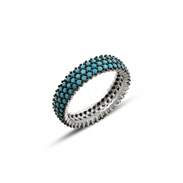 Rhodium Plated Turquoise CZ 3 Line Eternity Ring With Black - R81799