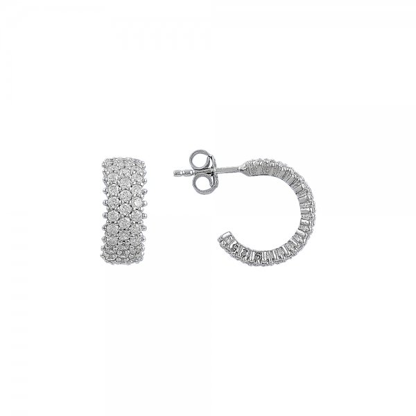White CZ 3 Line Eternity Hoop Earrings - E81818
