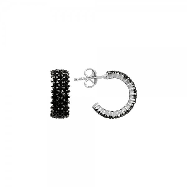Black CZ 3 Line Eternity Hoop Earrings - E81827