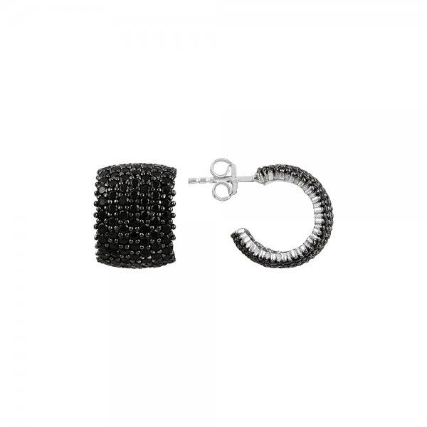 Black CZ 7 Line Eternity Hoop Earrings - E81829
