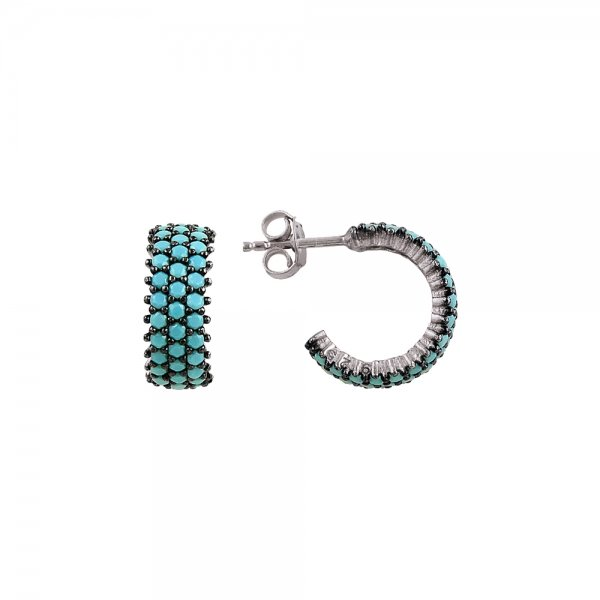 Turquoise CZ 3 Line Eternity Hoop Earrings - E81815