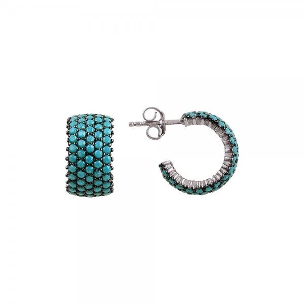 Turquoise CZ 5 Line Eternity Hoop Earrings - E81816