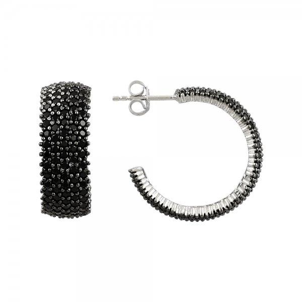 Black CZ 5 Line Eternity Hoop Earrings - E81838
