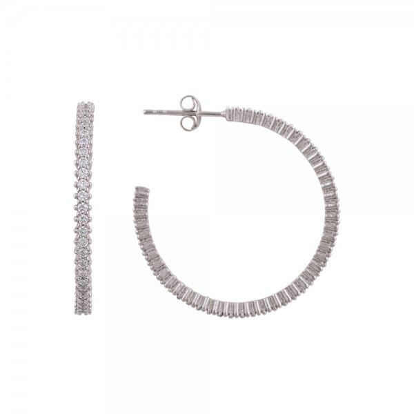 White CZ Single Line Eternity Hoop Earrings - E81841
