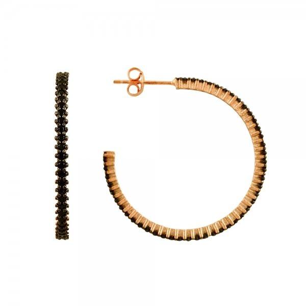 Black CZ Single Line Eternity Hoop Earrings - E81844
