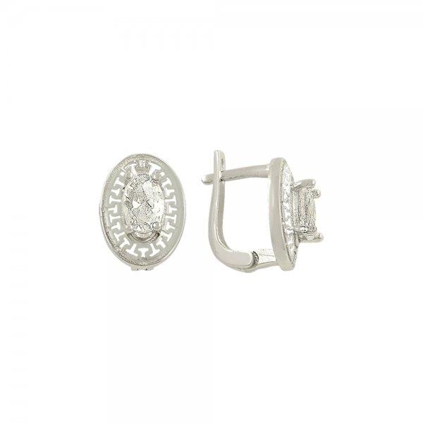 Oval Cut CZ Solitaire Pattern Earrings - E82108