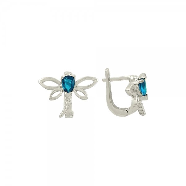 CZ Dragonfly Solitaire Earrings - E82111
