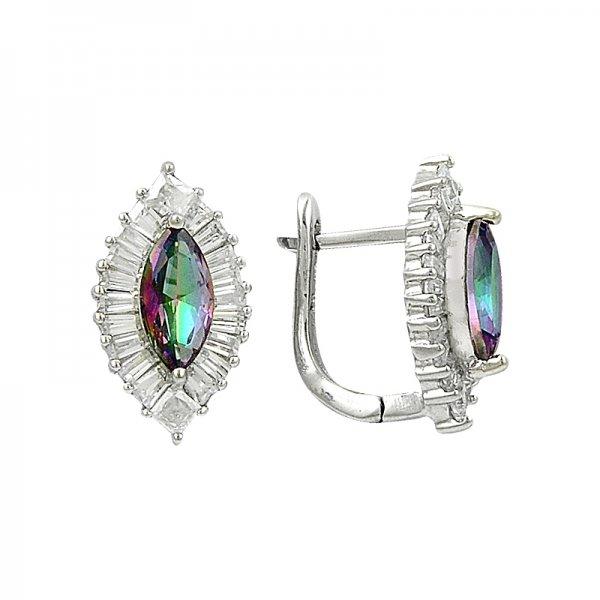 Mystic Topaz CZ & Baguette CZ Earrings - E82058