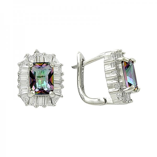 Mystic Topaz CZ & Baguette CZ Earrings - E82057