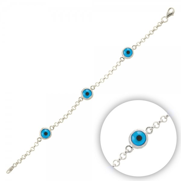 Rhodium Plated Tria Evil Eye Bracelet - B09904