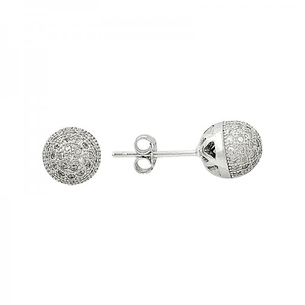 CZ Ball Stud Earrings - E82059