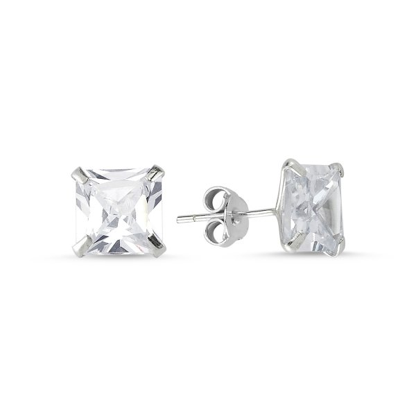 8mm Square Solitaire CZ Stud Earrings - E05427