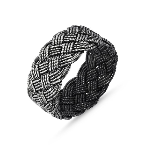 Knitted Oxidised Kazaz Ring - R82497