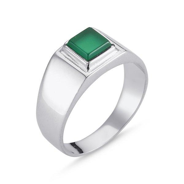Silver Gemstone Mens Ring - R00620
