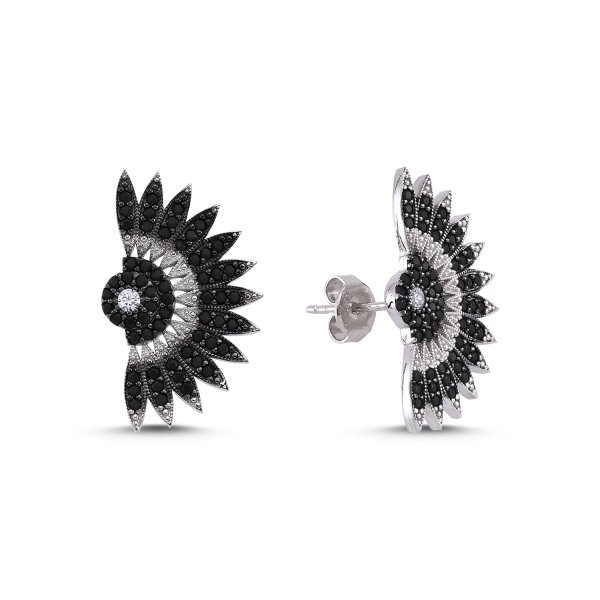 CZ Folding Fan Design Earrings  - E83051