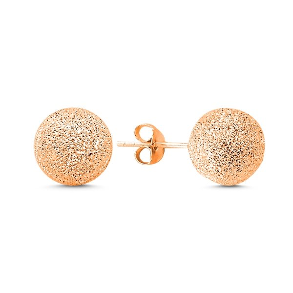 10mm Rose Gold Plated Laser Cut Ball Earrings  - E83286