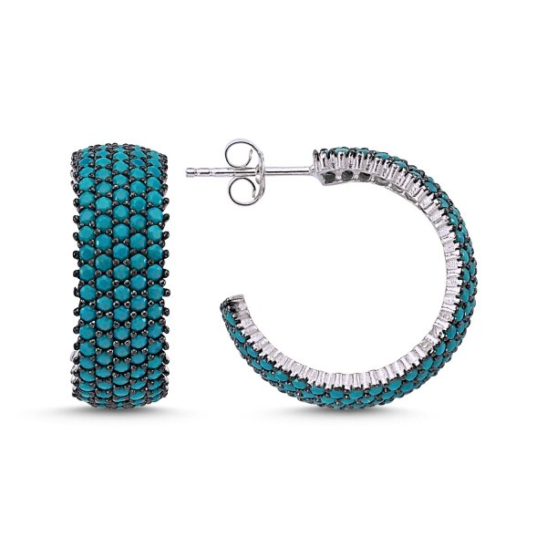 Turquoise CZ 5 Line Rhodium Plated Eternity Hoop Earrings - E83302