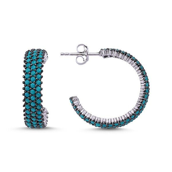 Turquoise CZ 3 Lines Eternity Rhodium Plated Hoop Earrings  - E83304