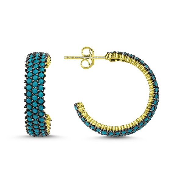 Turquoise CZ 3 Line Eternity Gold Plated Hoop Earrings - E83305