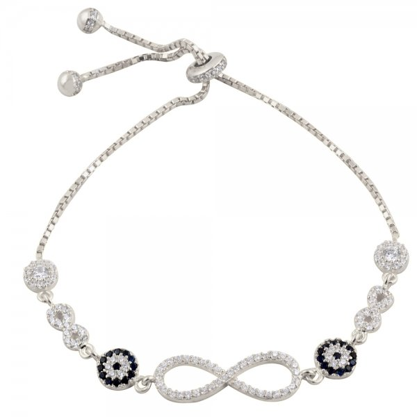 CZ Infinity Adjustable Sliding Bracelet - B13698