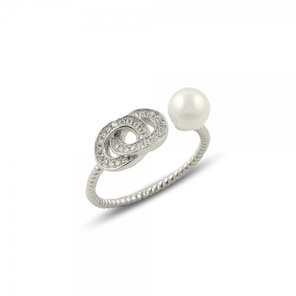 Cubic Zirconia & Pearl Ring - R14154