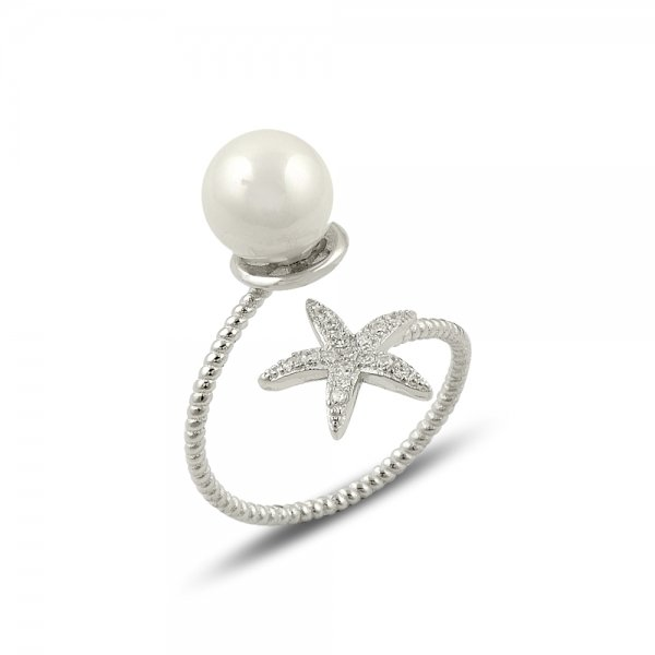 CZ & Pearl Starfish Ring - R14156